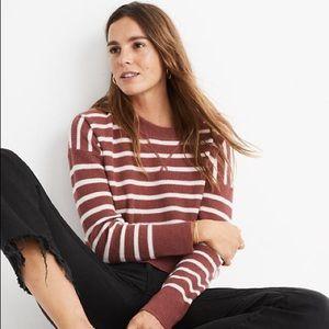 Madewell Cashere Sweatshirt in Berry Stripe XXS